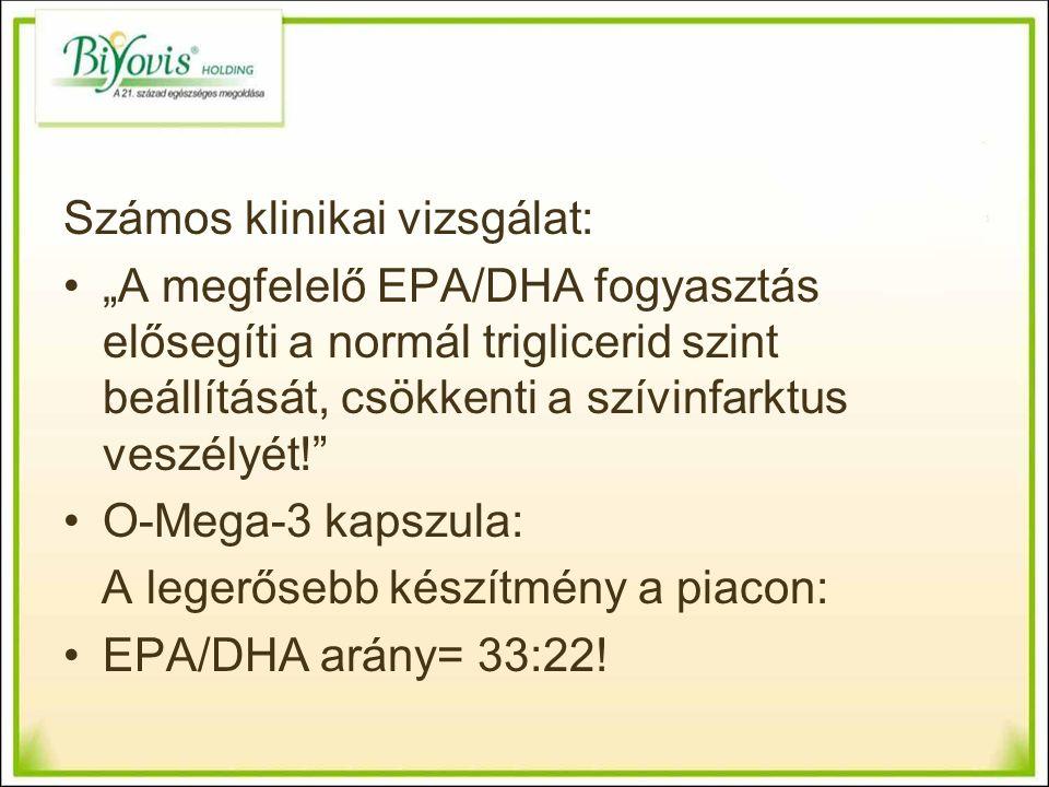"""Számos klinikai vizsgálat: """"A megfelelő EPA/DHA fogyasztás elősegíti a normál triglicerid szint beállítását, csökkenti a szívinfarktus veszélyét! O-Mega-3 kapszula: A legerősebb készítmény a piacon: EPA/DHA arány= 33:22!"""