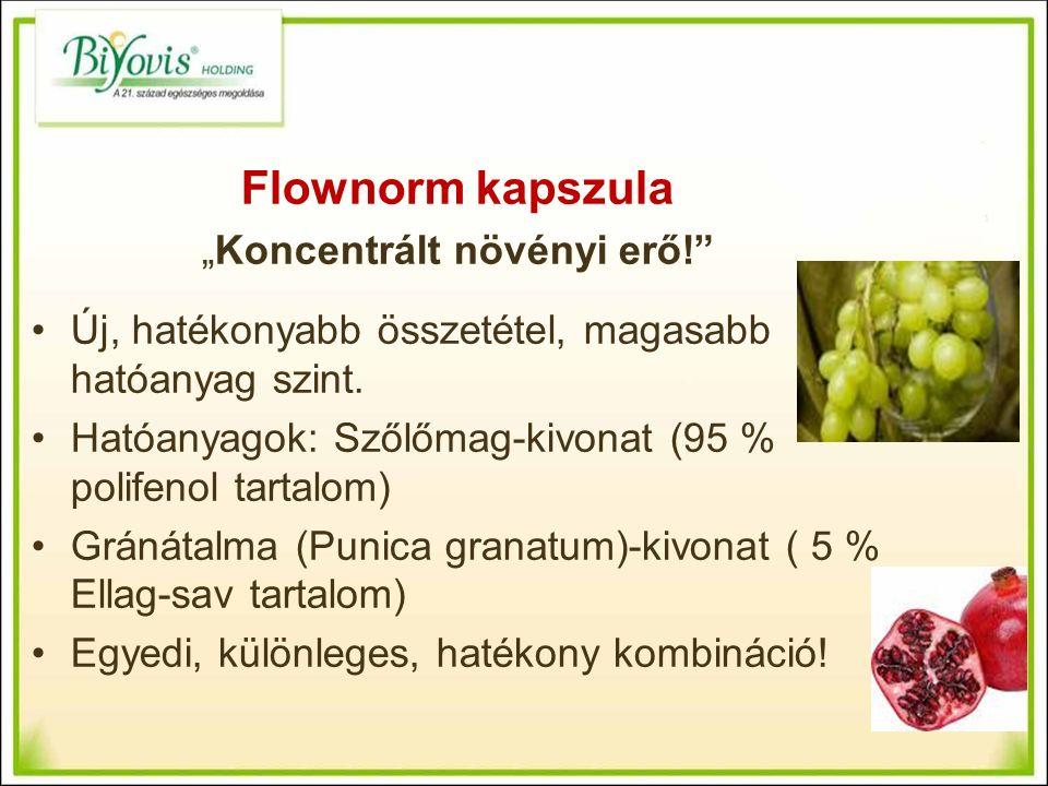 """Flownorm kapszula """"Koncentrált növényi erő! Új, hatékonyabb összetétel, magasabb hatóanyag szint."""