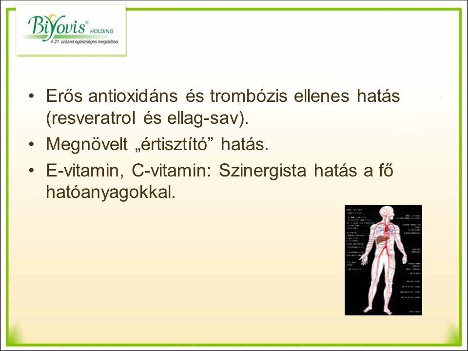 Erős antioxidáns és trombózis ellenes hatás (resveratrol és ellag-sav).
