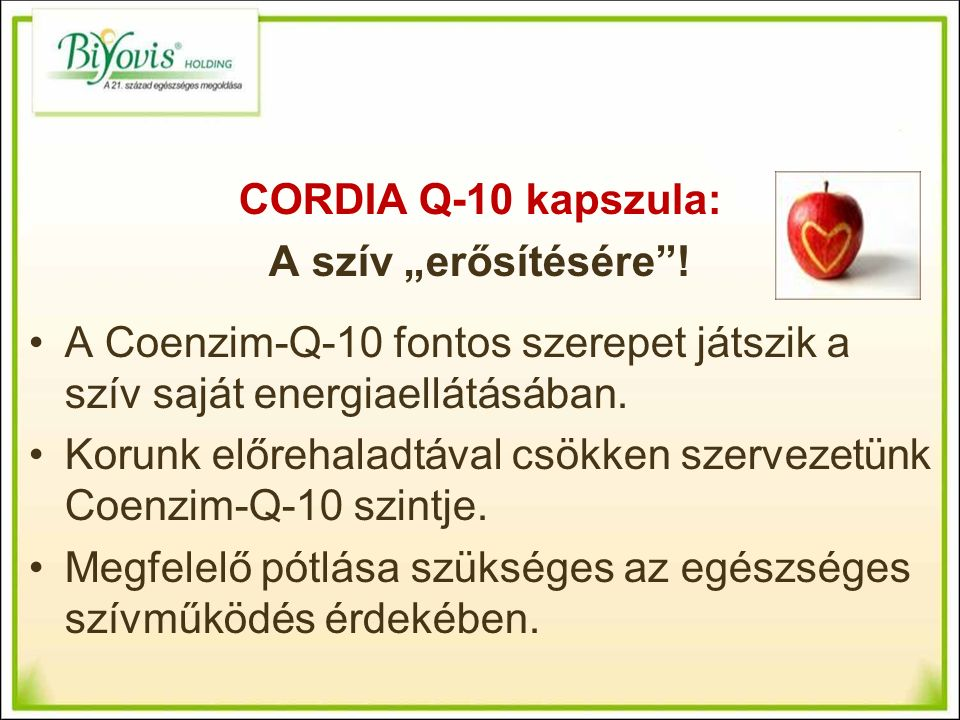 """CORDIA Q-10 kapszula: A szív """"erősítésére ."""
