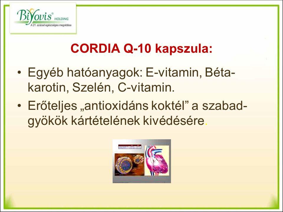 CORDIA Q-10 kapszula: Egyéb hatóanyagok: E-vitamin, Béta- karotin, Szelén, C-vitamin.
