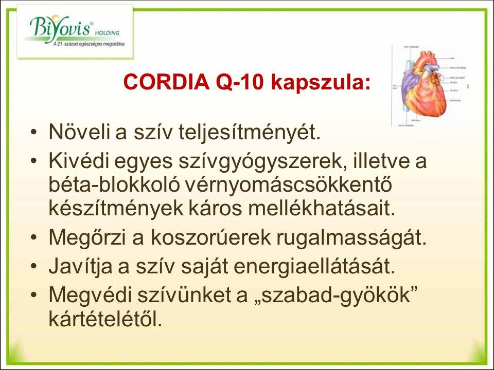 CORDIA Q-10 kapszula: Növeli a szív teljesítményét.
