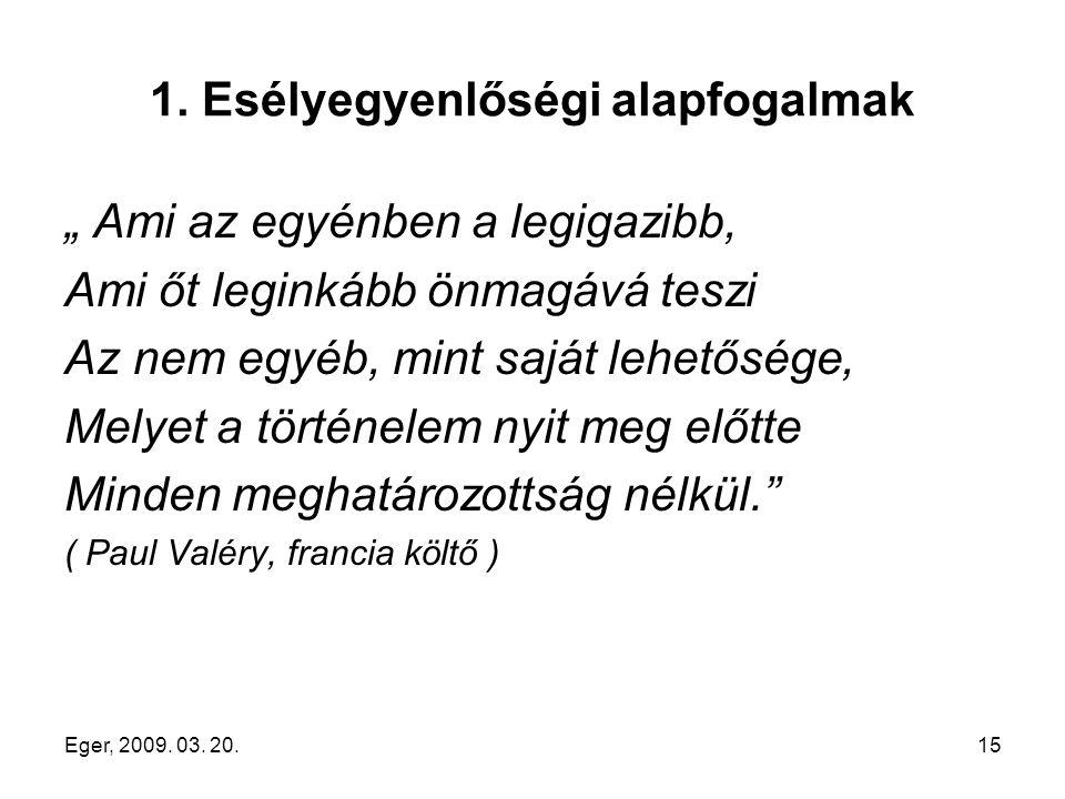 """Eger, 2009. 03. 20.15 1. Esélyegyenlőségi alapfogalmak """" Ami az egyénben a legigazibb, Ami őt leginkább önmagává teszi Az nem egyéb, mint saját lehető"""