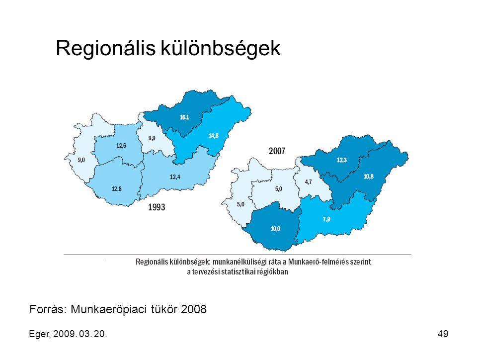 Eger, 2009. 03. 20.49 Regionális különbségek Forrás: Munkaerőpiaci tükör 2008
