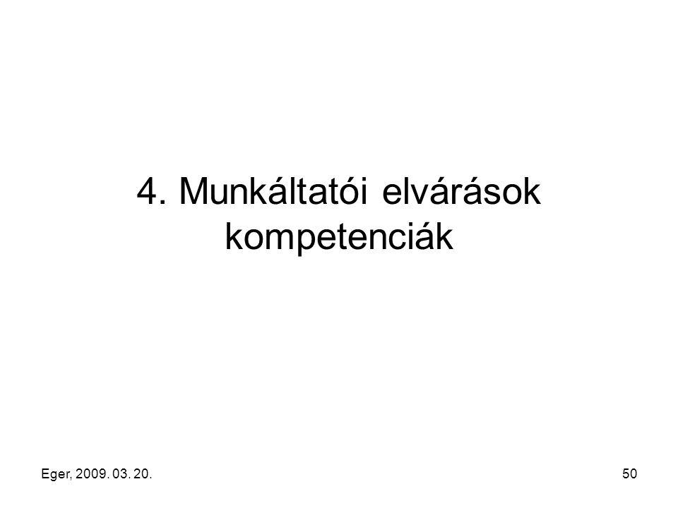 Eger, 2009. 03. 20.50 4. Munkáltatói elvárások kompetenciák