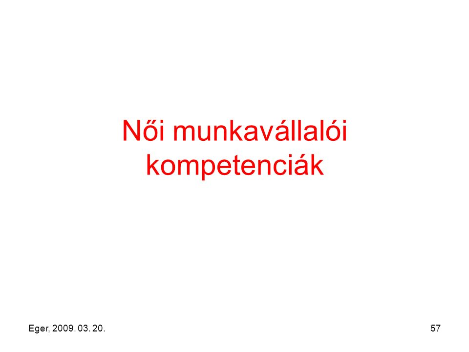 Eger, 2009. 03. 20.57 Női munkavállalói kompetenciák
