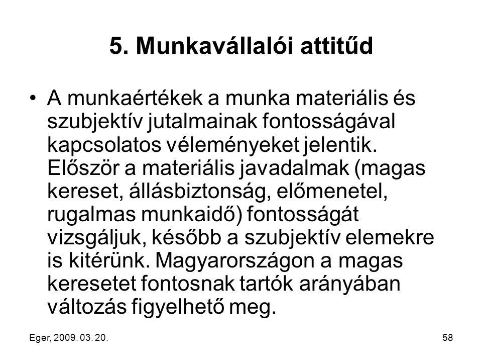 Eger, 2009. 03. 20.58 5. Munkavállalói attitűd A munkaértékek a munka materiális és szubjektív jutalmainak fontosságával kapcsolatos véleményeket jele