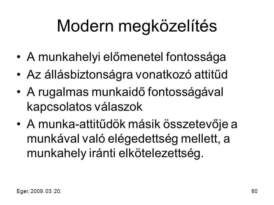Eger, 2009. 03. 20.60 Modern megközelítés A munkahelyi előmenetel fontossága Az állásbiztonságra vonatkozó attitűd A rugalmas munkaidő fontosságával k