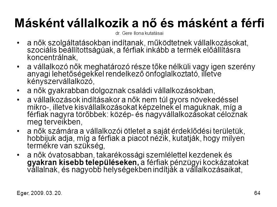 Eger, 2009. 03. 20.64 Másként vállalkozik a nő és másként a férfi dr. Gere Ilona kutatásai a nők szolgáltatásokban indítanak, működtetnek vállalkozáso