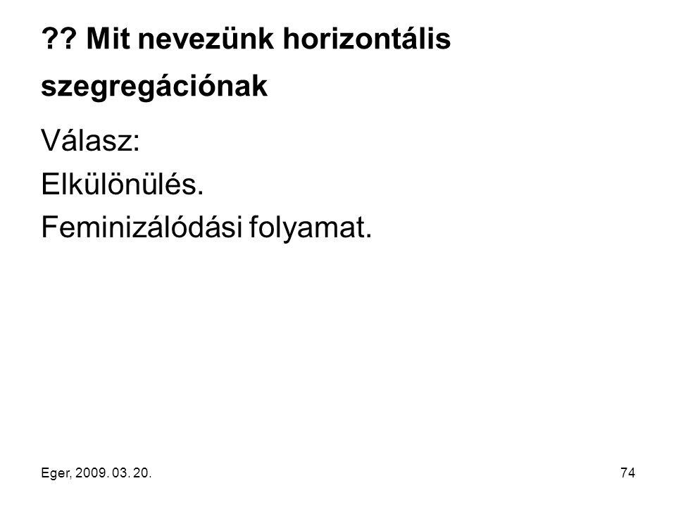 Eger, 2009. 03. 20.74 ?? Mit nevezünk horizontális szegregációnak Válasz: Elkülönülés. Feminizálódási folyamat.