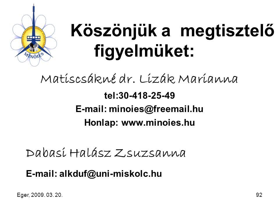 Eger, 2009. 03. 20.92 Köszönjük a megtisztelő figyelmüket: Matiscsákné dr. Lizák Marianna tel:30-418-25-49 E-mail: minoies@freemail.hu Honlap: www.min
