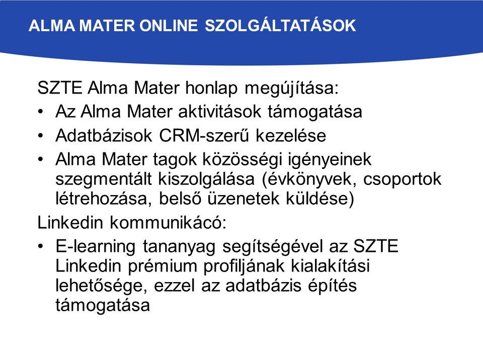 SZTE Alma Mater honlap megújítása: Az Alma Mater aktivitások támogatása Adatbázisok CRM-szerű kezelése Alma Mater tagok közösségi igényeinek szegmentált kiszolgálása (évkönyvek, csoportok létrehozása, belső üzenetek küldése) Linkedin kommunikácó: E-learning tananyag segítségével az SZTE Linkedin prémium profiljának kialakítási lehetősége, ezzel az adatbázis építés támogatása ALMA MATER ONLINE SZOLGÁLTATÁSOK