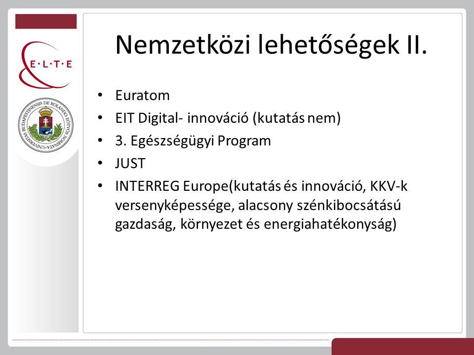 Nemzetközi lehetőségek II. Euratom EIT Digital- innováció (kutatás nem) 3. Egészségügyi Program JUST INTERREG Europe(kutatás és innováció, KKV-k verse