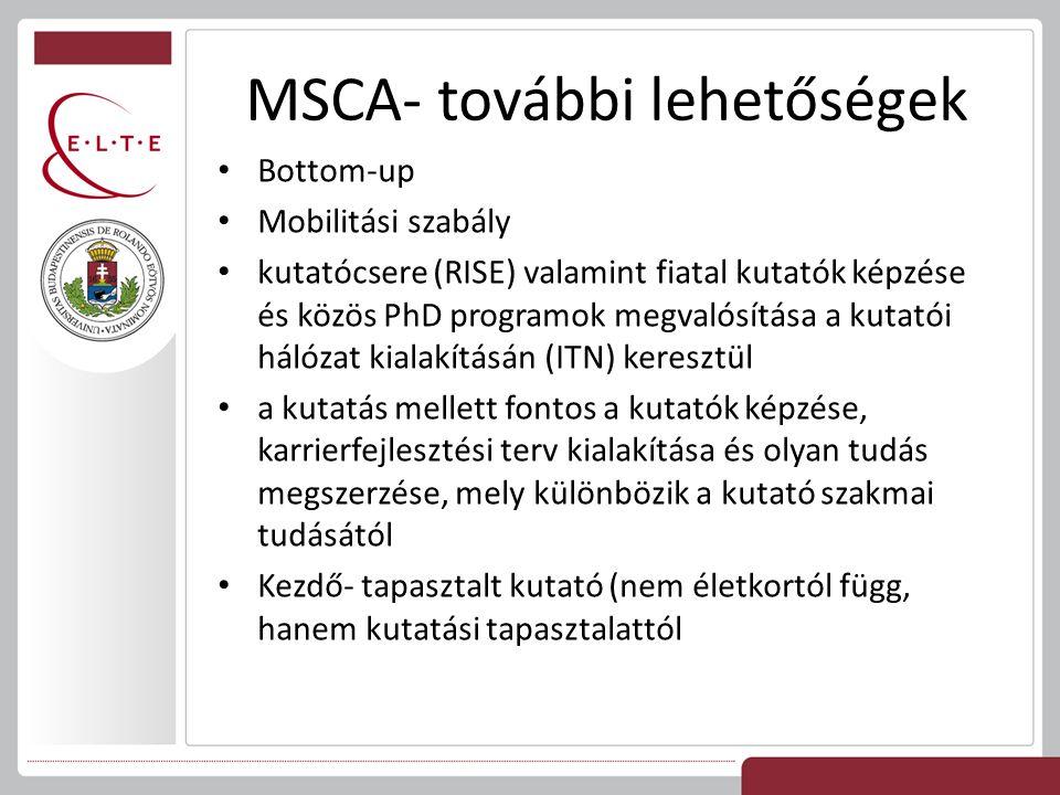 MSCA- további lehetőségek Bottom-up Mobilitási szabály kutatócsere (RISE) valamint fiatal kutatók képzése és közös PhD programok megvalósítása a kutat