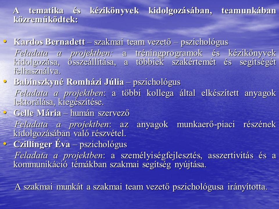 A tematika és kézikönyvek kidolgozásában, teamunkában közreműködtek: A tematika és kézikönyvek kidolgozásában, teamunkában közreműködtek: Kardos Bernadett – szakmai team vezető – pszichológus Kardos Bernadett – szakmai team vezető – pszichológus Feladata a projektben: a tréningprogramok és kézikönyvek kidolgozása, összeállítása, a többiek szakértemét és segítségét felhasználva.
