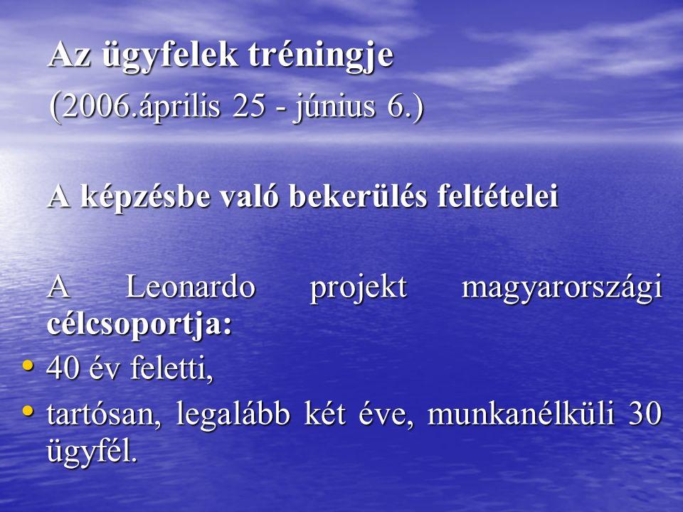 Az ügyfelek tréningje Az ügyfelek tréningje ( 2006.április 25 - június 6.) ( 2006.április 25 - június 6.) A képzésbe való bekerülés feltételei A képzésbe való bekerülés feltételei A Leonardo projekt magyarországi célcsoportja: A Leonardo projekt magyarországi célcsoportja: 40 év feletti, 40 év feletti, tartósan, legalább két éve, munkanélküli 30 ügyfél.