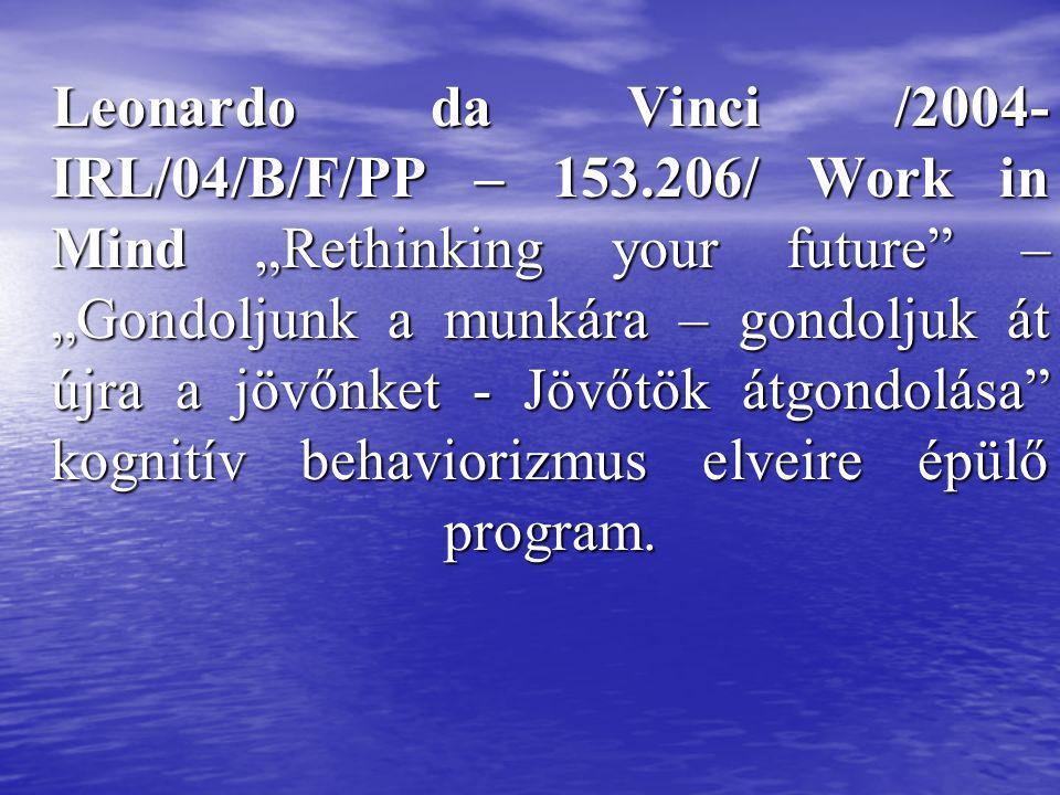"Leonardo da Vinci /2004- IRL/04/B/F/PP – 153.206/ Work in Mind ""Rethinking your future – ""Gondoljunk a munkára – gondoljuk át újra a jövőnket - Jövőtök átgondolása kognitív behaviorizmus elveire épülő program."