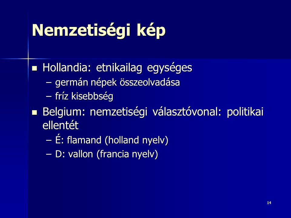 14 Nemzetiségi kép Hollandia: etnikailag egységes Hollandia: etnikailag egységes –germán népek összeolvadása –fríz kisebbség Belgium: nemzetiségi választóvonal: politikai ellentét Belgium: nemzetiségi választóvonal: politikai ellentét –É: flamand (holland nyelv) –D: vallon (francia nyelv)