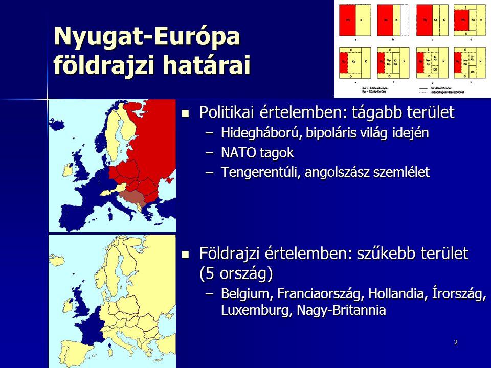 2 Nyugat-Európa földrajzi határai Politikai értelemben: tágabb terület Politikai értelemben: tágabb terület –Hidegháború, bipoláris világ idején –NATO tagok –Tengerentúli, angolszász szemlélet Földrajzi értelemben: szűkebb terület (5 ország) Földrajzi értelemben: szűkebb terület (5 ország) –Belgium, Franciaország, Hollandia, Írország, Luxemburg, Nagy-Britannia