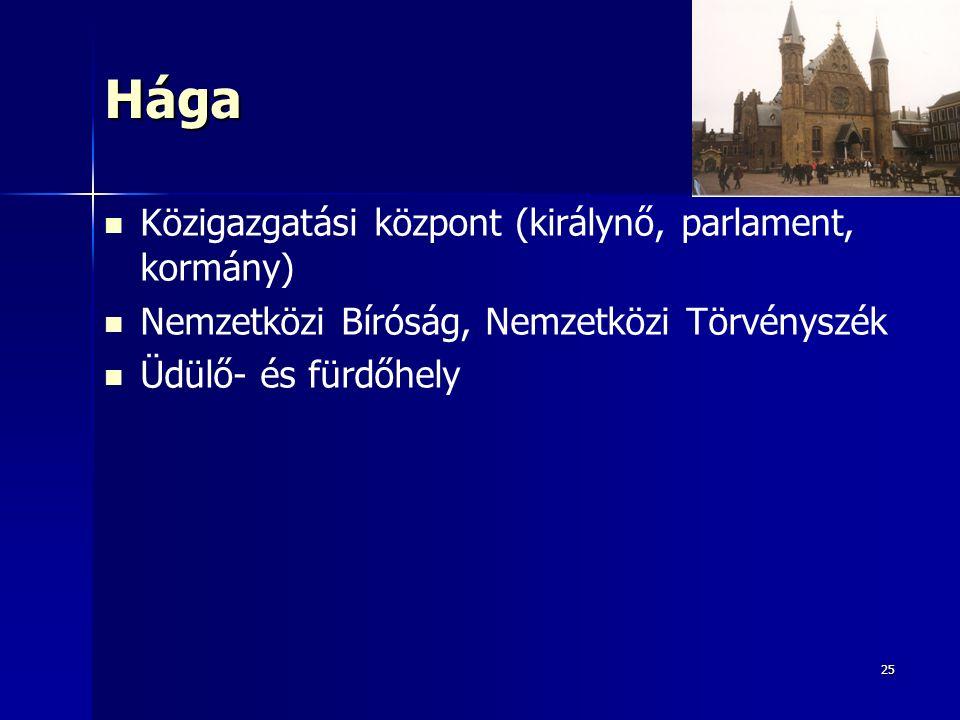 25Hága Közigazgatási központ (királynő, parlament, kormány) Nemzetközi Bíróság, Nemzetközi Törvényszék Üdülő- és fürdőhely