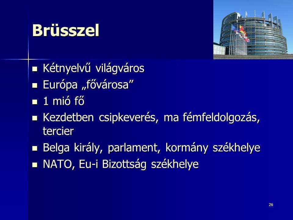 """26Brüsszel Kétnyelvű világváros Kétnyelvű világváros Európa """"fővárosa Európa """"fővárosa 1 mió fő 1 mió fő Kezdetben csipkeverés, ma fémfeldolgozás, tercier Kezdetben csipkeverés, ma fémfeldolgozás, tercier Belga király, parlament, kormány székhelye Belga király, parlament, kormány székhelye NATO, Eu-i Bizottság székhelye NATO, Eu-i Bizottság székhelye"""