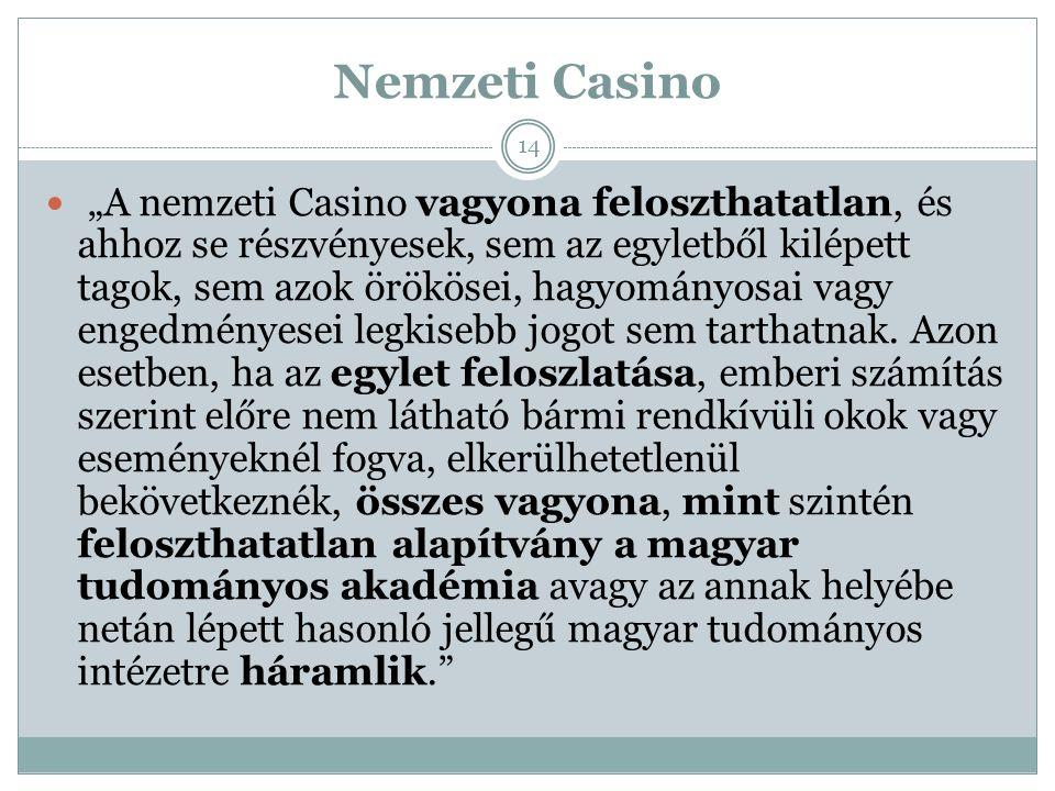 """Nemzeti Casino """"A nemzeti Casino vagyona feloszthatatlan, és ahhoz se részvényesek, sem az egyletből kilépett tagok, sem azok örökösei, hagyományosai vagy engedményesei legkisebb jogot sem tarthatnak."""