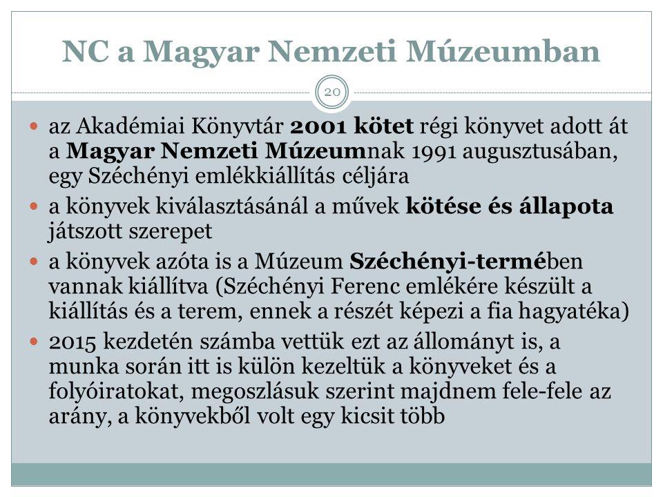 NC a Magyar Nemzeti Múzeumban az Akadémiai Könyvtár 2001 kötet régi könyvet adott át a Magyar Nemzeti Múzeumnak 1991 augusztusában, egy Széchényi emlékkiállítás céljára a könyvek kiválasztásánál a művek kötése és állapota játszott szerepet a könyvek azóta is a Múzeum Széchényi-termében vannak kiállítva (Széchényi Ferenc emlékére készült a kiállítás és a terem, ennek a részét képezi a fia hagyatéka) 2015 kezdetén számba vettük ezt az állományt is, a munka során itt is külön kezeltük a könyveket és a folyóiratokat, megoszlásuk szerint majdnem fele-fele az arány, a könyvekből volt egy kicsit több 20