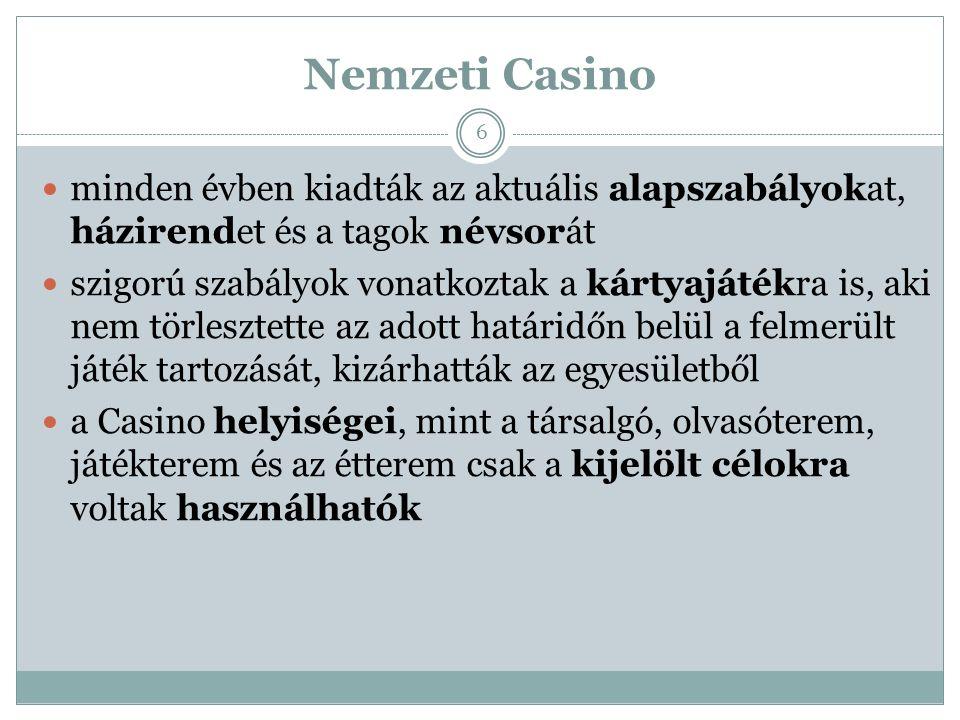"""Nemzeti Casino Gróf Széchenyi István végrendeletében a Casino-ra egy aranyserleget hagyott, és kérte, hogy """"minden esztendőben tartassék ott egy részvényesi ebéd s akkor az én emlékezetemre üríttessék ki az említett serleg, mely az akkori borok leghelyesebbikével legyen meg- s megtöltve.  Széchenyi-lakoma 7"""