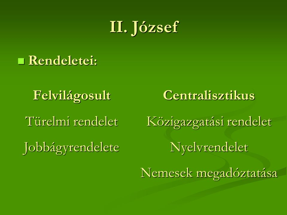 II. József Rendeletei : Rendeletei : Felvilágosult Türelmi rendelet JobbágyrendeleteCentralisztikus Közigazgatási rendelet Nyelvrendelet Nemesek megad
