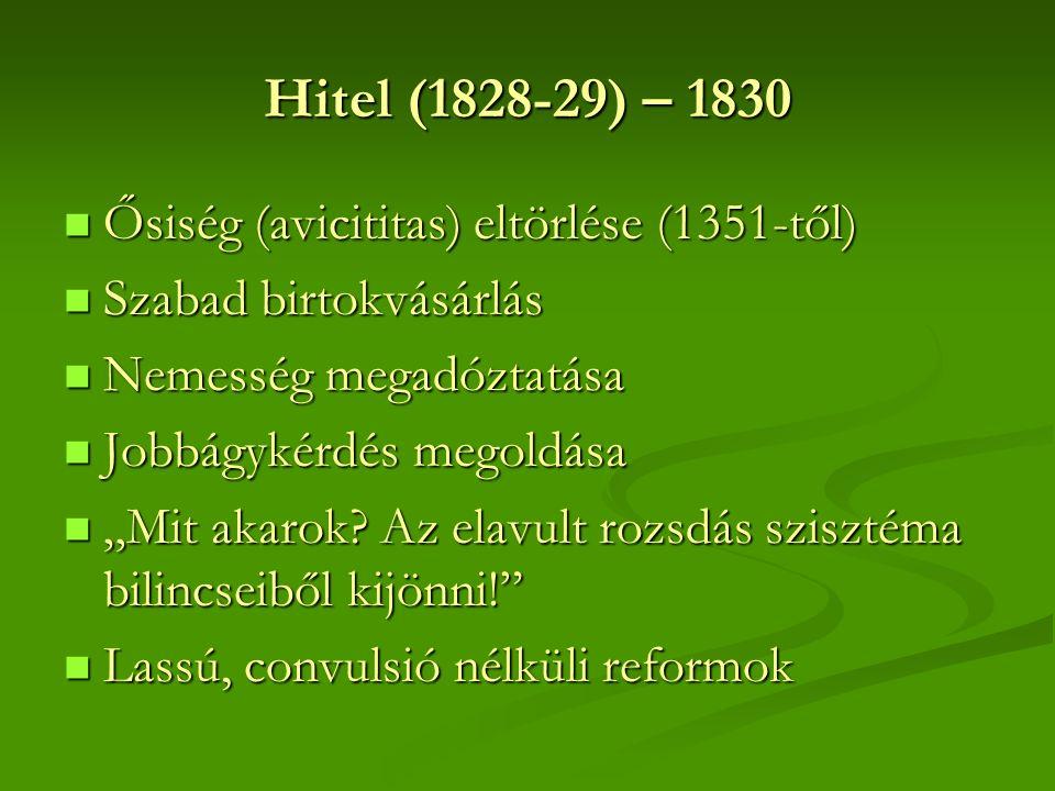 """Hitel (1828-29) – 1830 Ősiség (avicititas) eltörlése (1351-től) Ősiség (avicititas) eltörlése (1351-től) Szabad birtokvásárlás Szabad birtokvásárlás Nemesség megadóztatása Nemesség megadóztatása Jobbágykérdés megoldása Jobbágykérdés megoldása """"Mit akarok."""