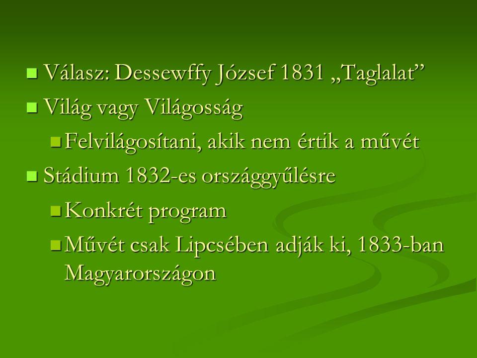 """Válasz: Dessewffy József 1831 """"Taglalat Válasz: Dessewffy József 1831 """"Taglalat Világ vagy Világosság Világ vagy Világosság Felvilágosítani, akik nem értik a művét Felvilágosítani, akik nem értik a művét Stádium 1832-es országgyűlésre Stádium 1832-es országgyűlésre Konkrét program Konkrét program Művét csak Lipcsében adják ki, 1833-ban Magyarországon Művét csak Lipcsében adják ki, 1833-ban Magyarországon"""