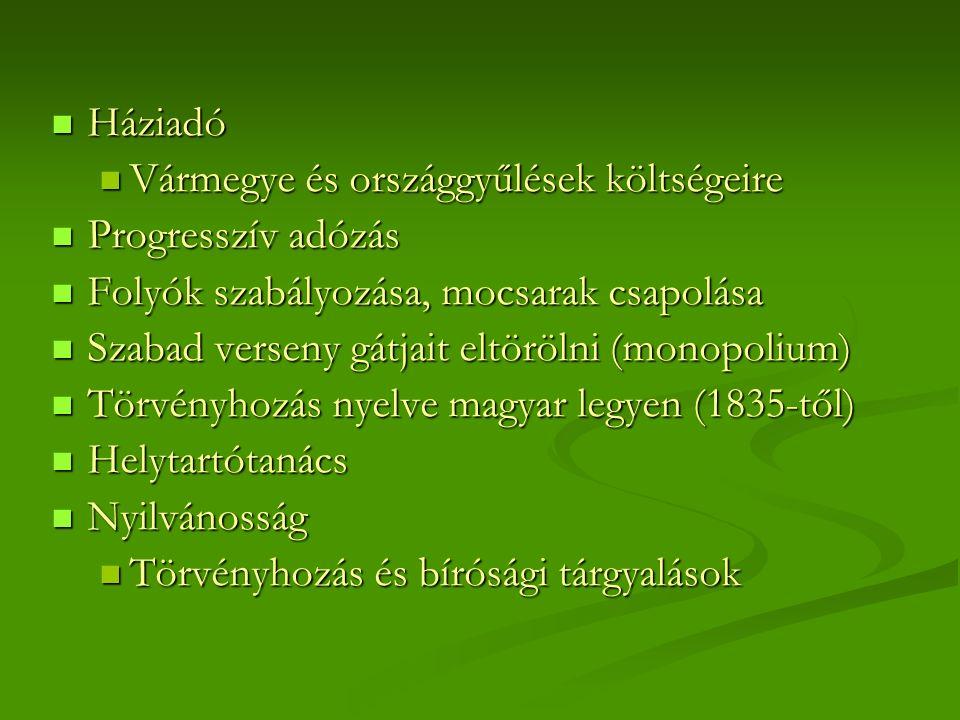 Háziadó Háziadó Vármegye és országgyűlések költségeire Vármegye és országgyűlések költségeire Progresszív adózás Progresszív adózás Folyók szabályozása, mocsarak csapolása Folyók szabályozása, mocsarak csapolása Szabad verseny gátjait eltörölni (monopolium) Szabad verseny gátjait eltörölni (monopolium) Törvényhozás nyelve magyar legyen (1835-től) Törvényhozás nyelve magyar legyen (1835-től) Helytartótanács Helytartótanács Nyilvánosság Nyilvánosság Törvényhozás és bírósági tárgyalások Törvényhozás és bírósági tárgyalások