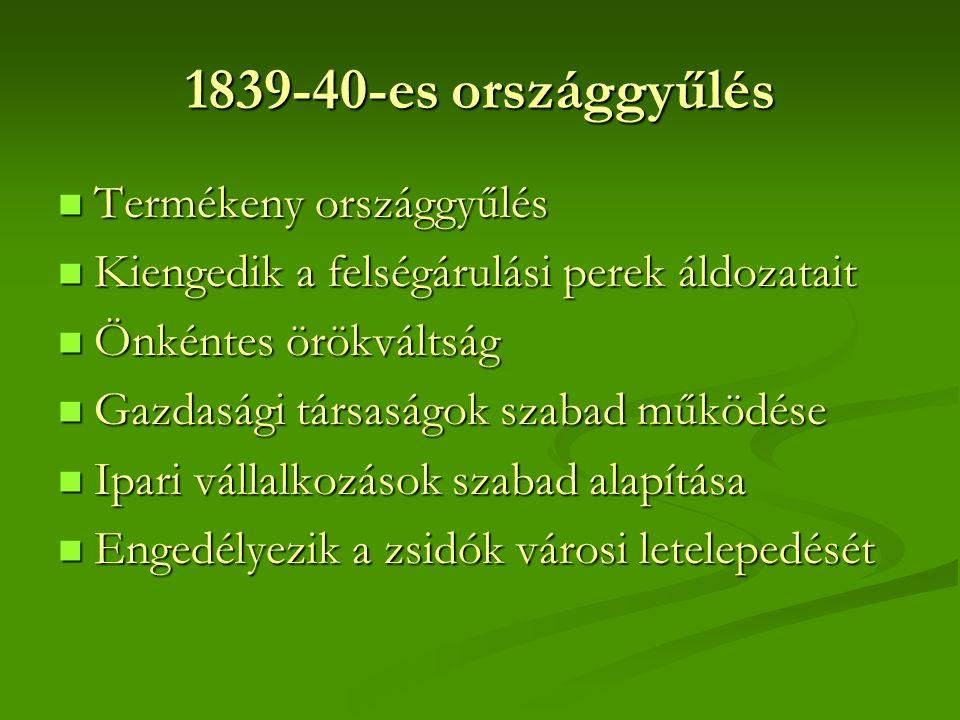 1839-40-es országgyűlés Termékeny országgyűlés Termékeny országgyűlés Kiengedik a felségárulási perek áldozatait Kiengedik a felségárulási perek áldozatait Önkéntes örökváltság Önkéntes örökváltság Gazdasági társaságok szabad működése Gazdasági társaságok szabad működése Ipari vállalkozások szabad alapítása Ipari vállalkozások szabad alapítása Engedélyezik a zsidók városi letelepedését Engedélyezik a zsidók városi letelepedését