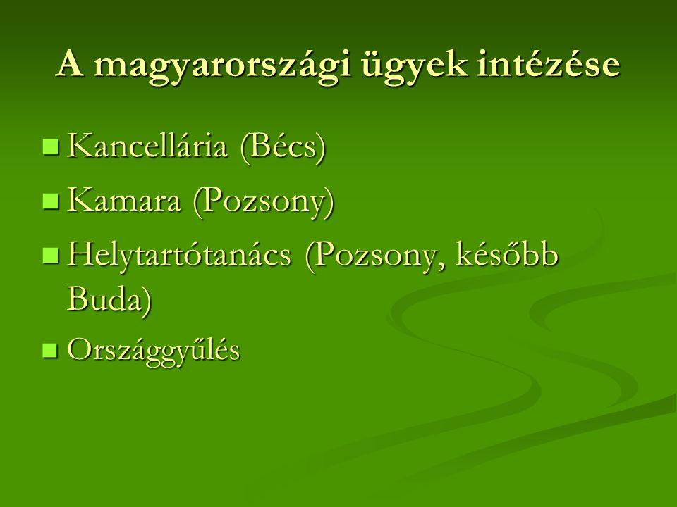 A magyarországi ügyek intézése Kancellária (Bécs) Kancellária (Bécs) Kamara (Pozsony) Kamara (Pozsony) Helytartótanács (Pozsony, később Buda) Helytartótanács (Pozsony, később Buda) Országgyűlés Országgyűlés
