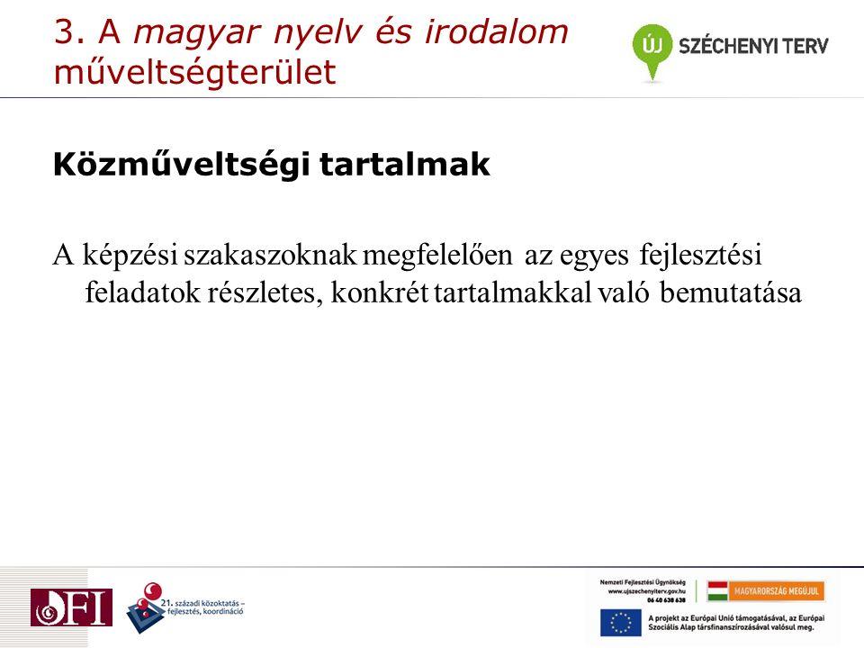 3. A magyar nyelv és irodalom műveltségterület Közműveltségi tartalmak A képzési szakaszoknak megfelelően az egyes fejlesztési feladatok részletes, ko