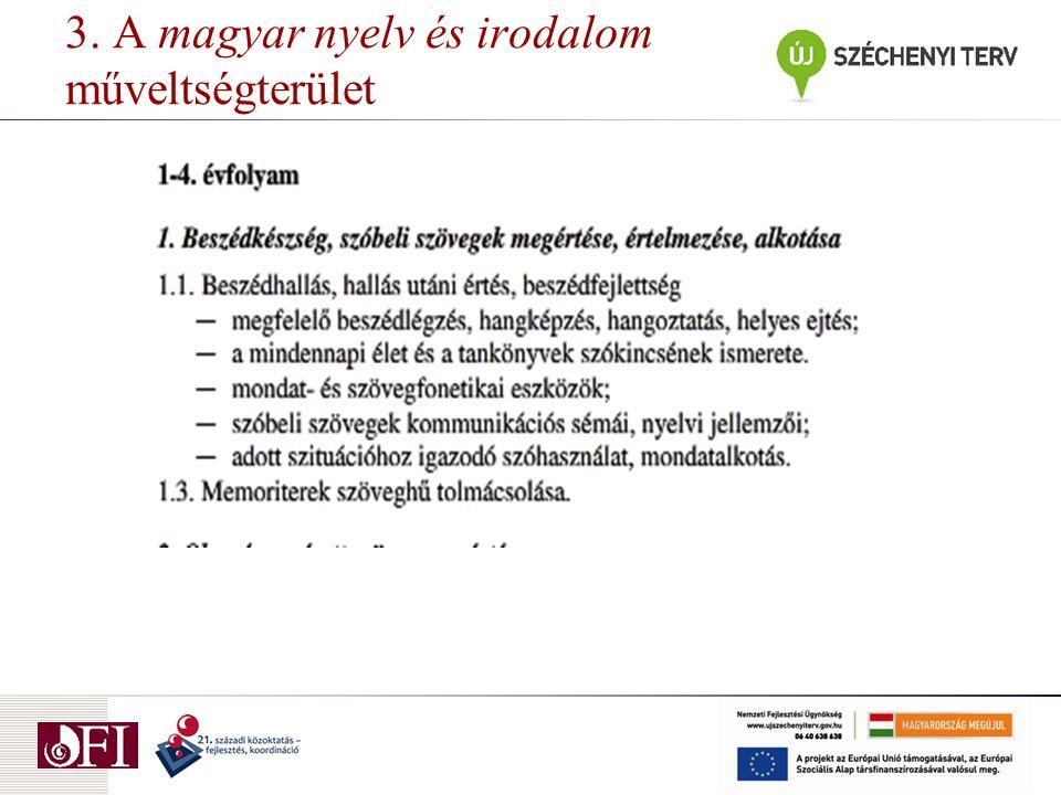 3. A magyar nyelv és irodalom műveltségterület