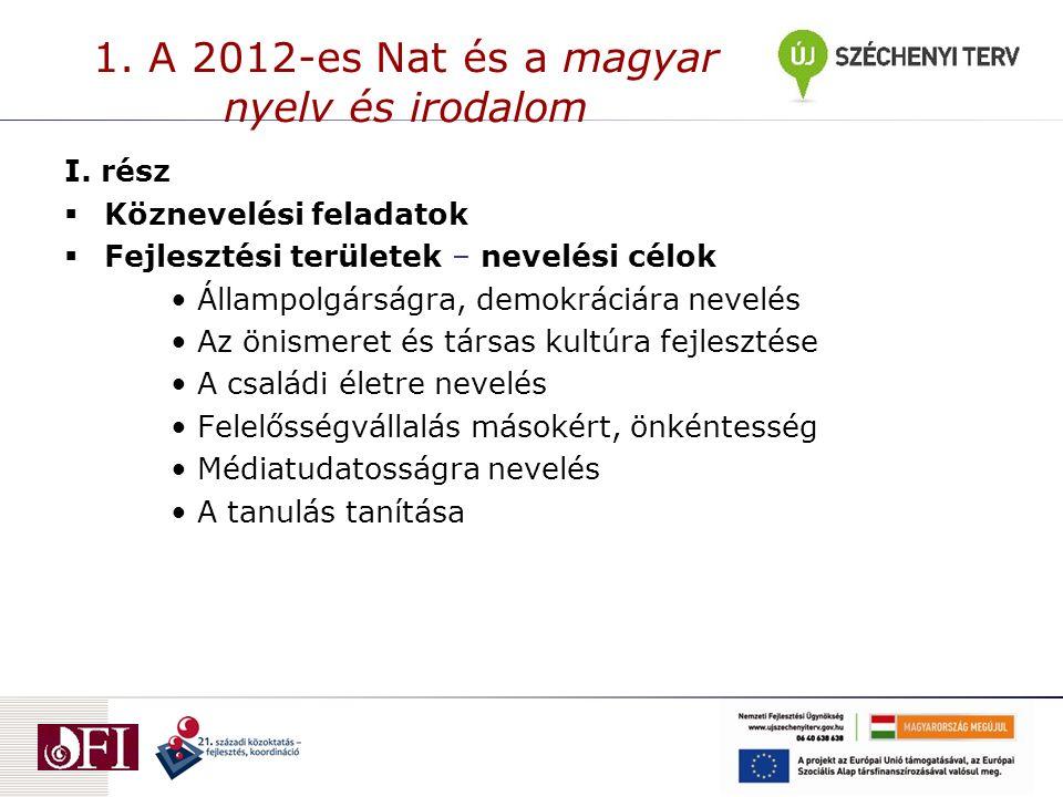 1. A 2012-es Nat és a magyar nyelv és irodalom I.