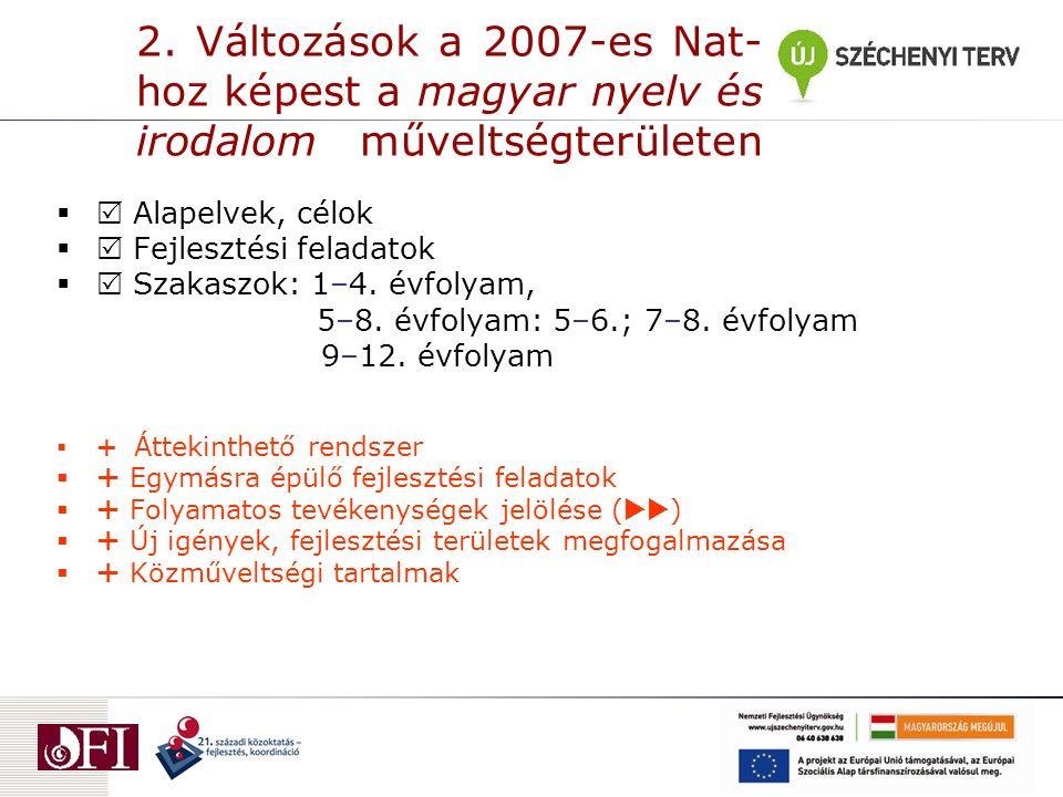 2. Változások a 2007-es Nat- hoz képest a magyar nyelv és irodalom műveltségterületen   Alapelvek, célok   Fejlesztési feladatok   Szakaszok: 1–