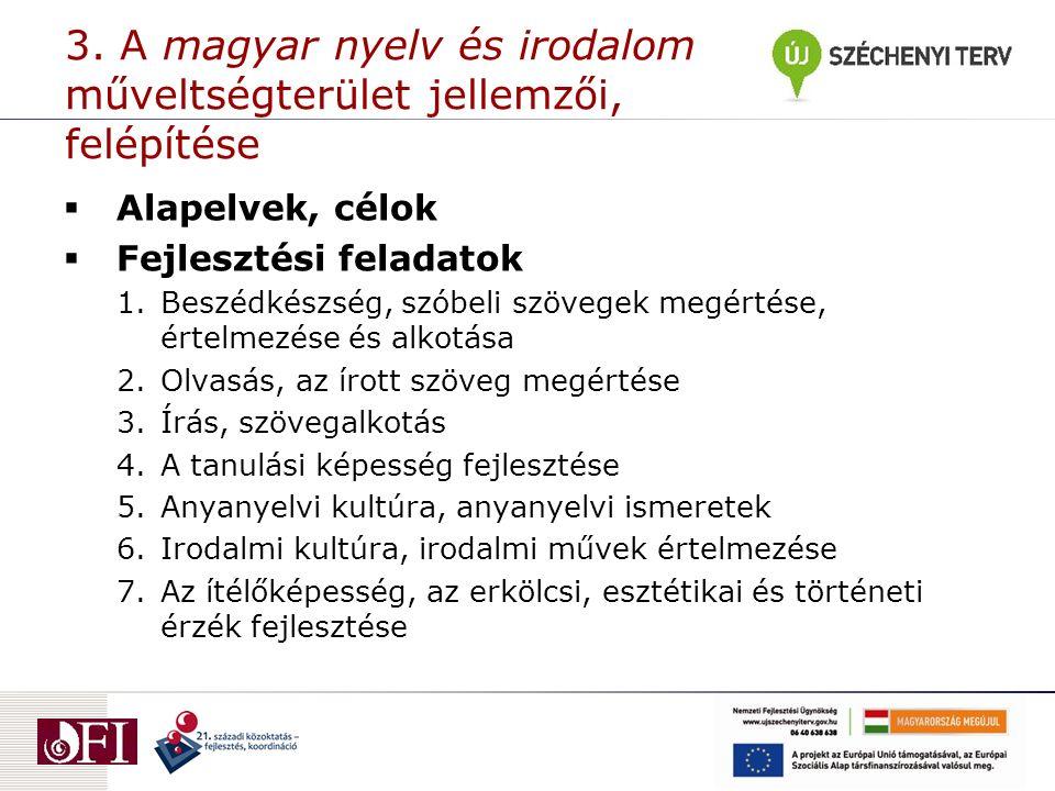 3. A magyar nyelv és irodalom műveltségterület jellemzői, felépítése  Alapelvek, célok  Fejlesztési feladatok 1.Beszédkészség, szóbeli szövegek megé