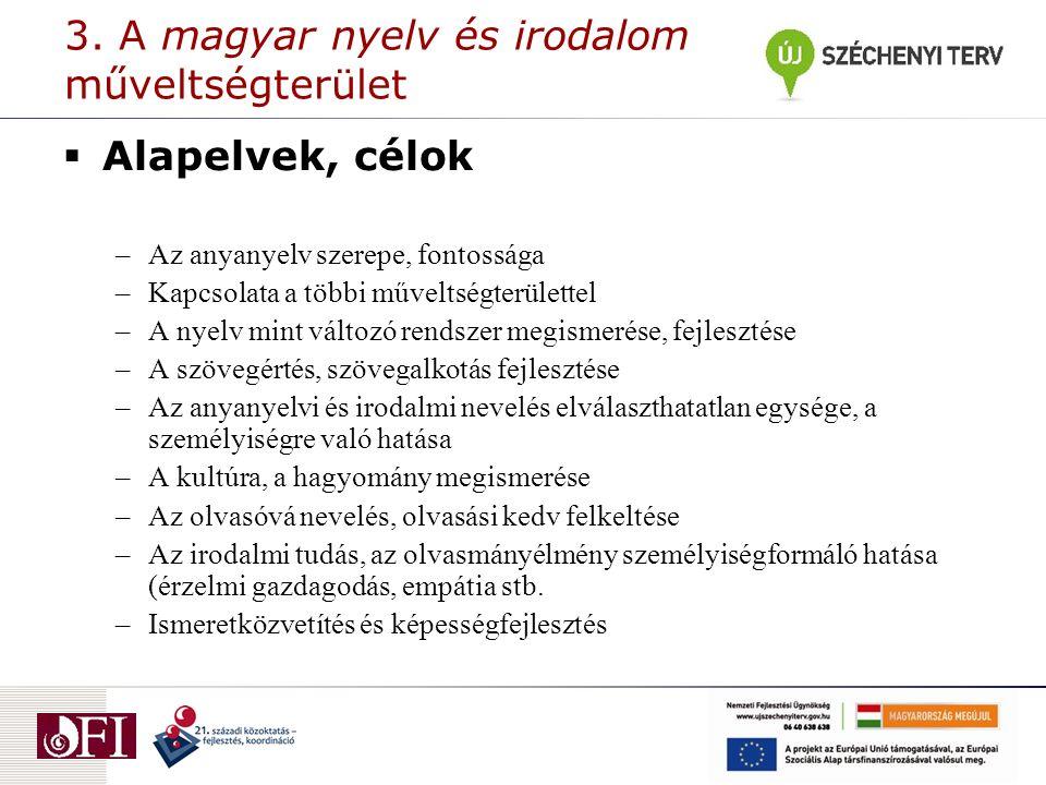 3. A magyar nyelv és irodalom műveltségterület  Alapelvek, célok –Az anyanyelv szerepe, fontossága –Kapcsolata a többi műveltségterülettel –A nyelv m