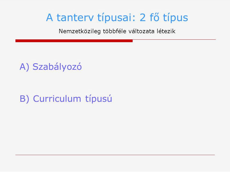 A tanterv típusai: 2 fő típus Nemzetközileg többféle változata létezik A)Szabályozó B) Curriculum típusú