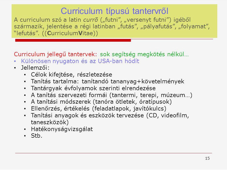 """Curriculum típusú tantervről A curriculum szó a latin currō (""""futni , """"versenyt futni ) igéből származik, jelentése a régi latinban """"futás , """"pályafutás , """"folyamat , lefutás ."""