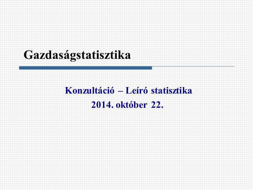 Konzultáció – Leíró statisztika 2014. október 22. Gazdaságstatisztika