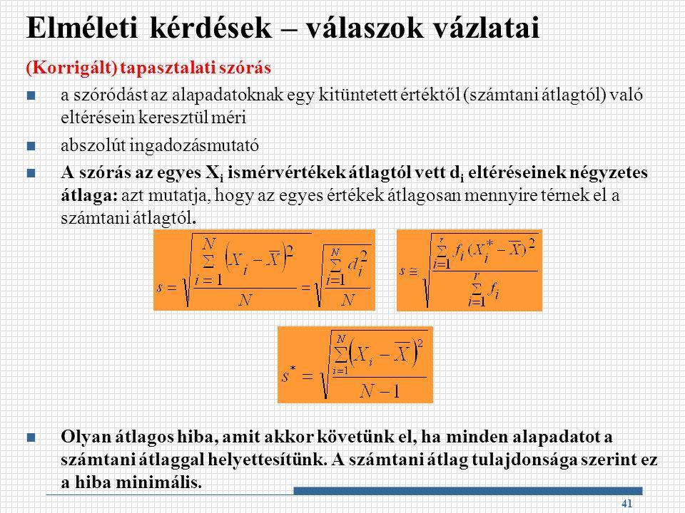(Korrigált) tapasztalati szórás a szóródást az alapadatoknak egy kitüntetett értéktől (számtani átlagtól) való eltérésein keresztül méri abszolút ingadozásmutató A szórás az egyes X i ismérvértékek átlagtól vett d i eltéréseinek négyzetes átlaga: azt mutatja, hogy az egyes értékek átlagosan mennyire térnek el a számtani átlagtól.