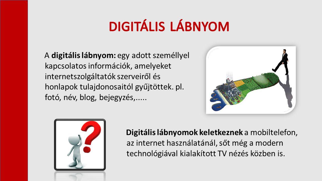 A digitális lábnyom: egy adott személlyel kapcsolatos információk, amelyeket internetszolgáltatók szerveiről és honlapok tulajdonosaitól gyűjtöttek.