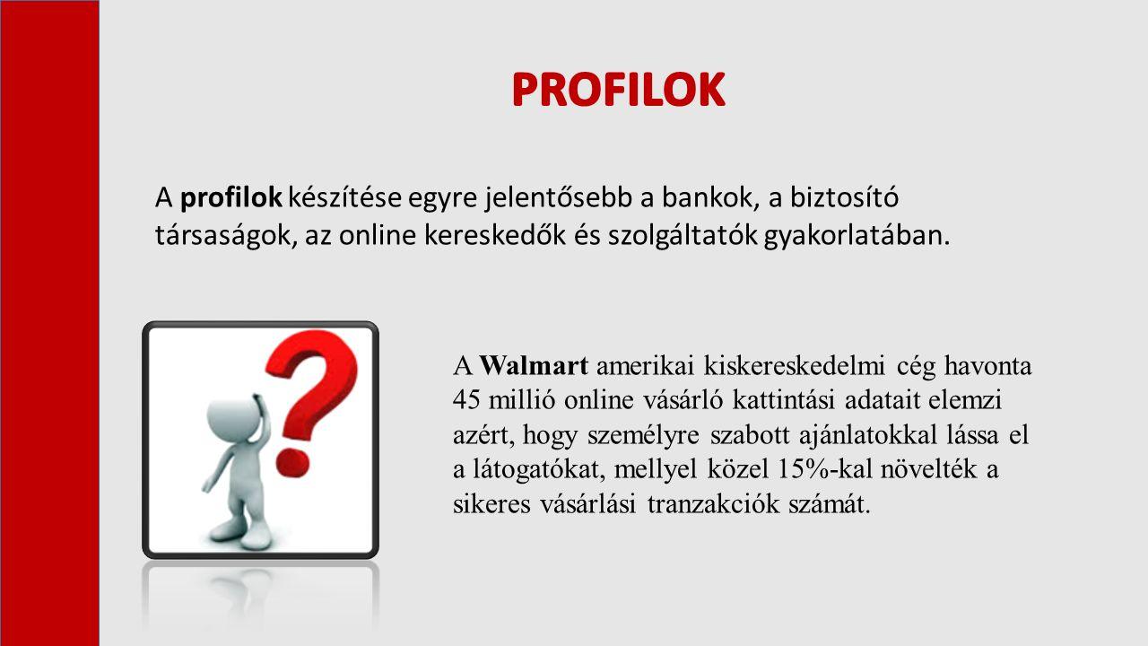 A profilok készítése egyre jelentősebb a bankok, a biztosító társaságok, az online kereskedők és szolgáltatók gyakorlatában.