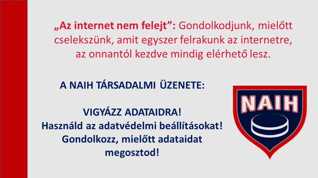"""""""Az internet nem felejt"""": Gondolkodjunk, mielőtt cselekszünk, amit egyszer felrakunk az internetre, az onnantól kezdve mindig elérhető lesz. A NAIH TÁ"""