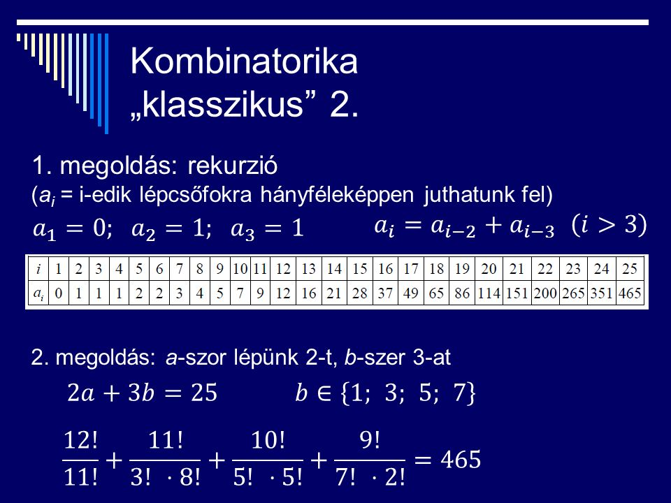"""Kombinatorika """"klasszikus 2. 1."""