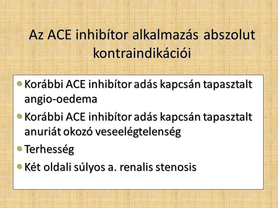 Az ACE inhibítor alkalmazás abszolut kontraindikációi Korábbi ACE inhibítor adás kapcsán tapasztalt angio-oedema Korábbi ACE inhibítor adás kapcsán tapasztalt angio-oedema Korábbi ACE inhibítor adás kapcsán tapasztalt anuriát okozó veseelégtelenség Korábbi ACE inhibítor adás kapcsán tapasztalt anuriát okozó veseelégtelenség Terhesség Terhesség Két oldali súlyos a.