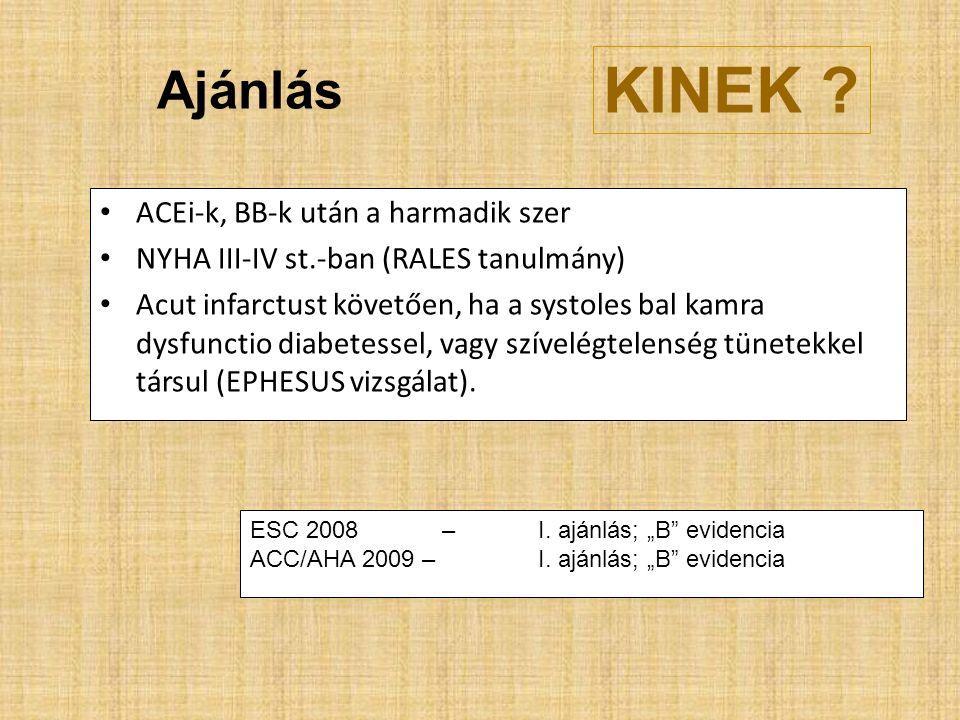 Ajánlás ACEi-k, BB-k után a harmadik szer NYHA III-IV st.-ban (RALES tanulmány) Acut infarctust követően, ha a systoles bal kamra dysfunctio diabetessel, vagy szívelégtelenség tünetekkel társul (EPHESUS vizsgálat).